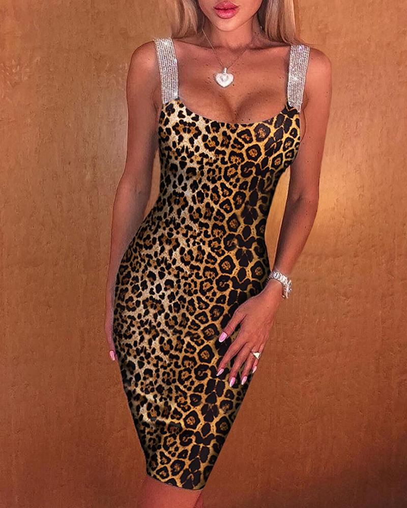 Leopard Print Thick Strap Midi Dress фото