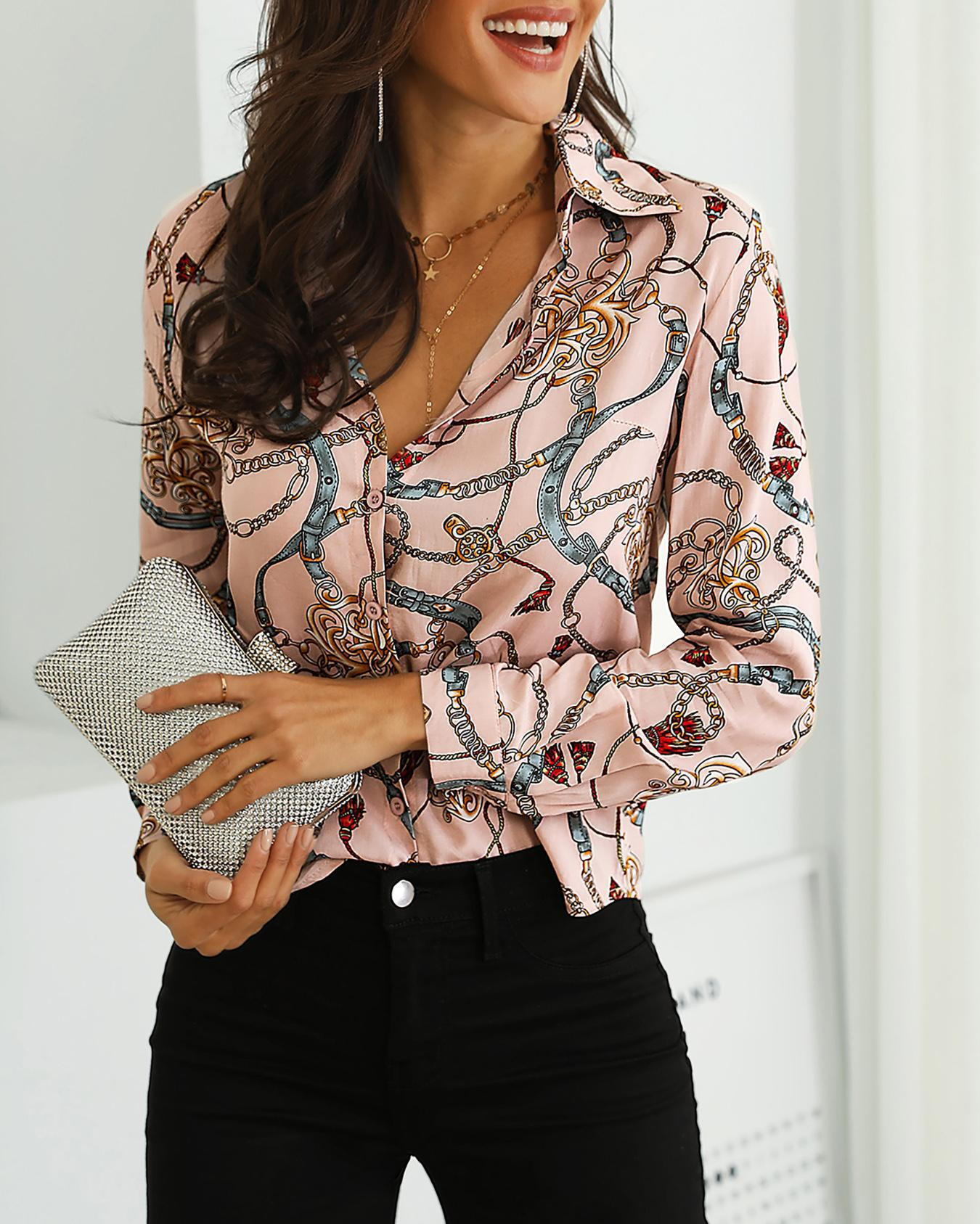Long Sleeve Mixed Chain Print Casual Blouse, Pink