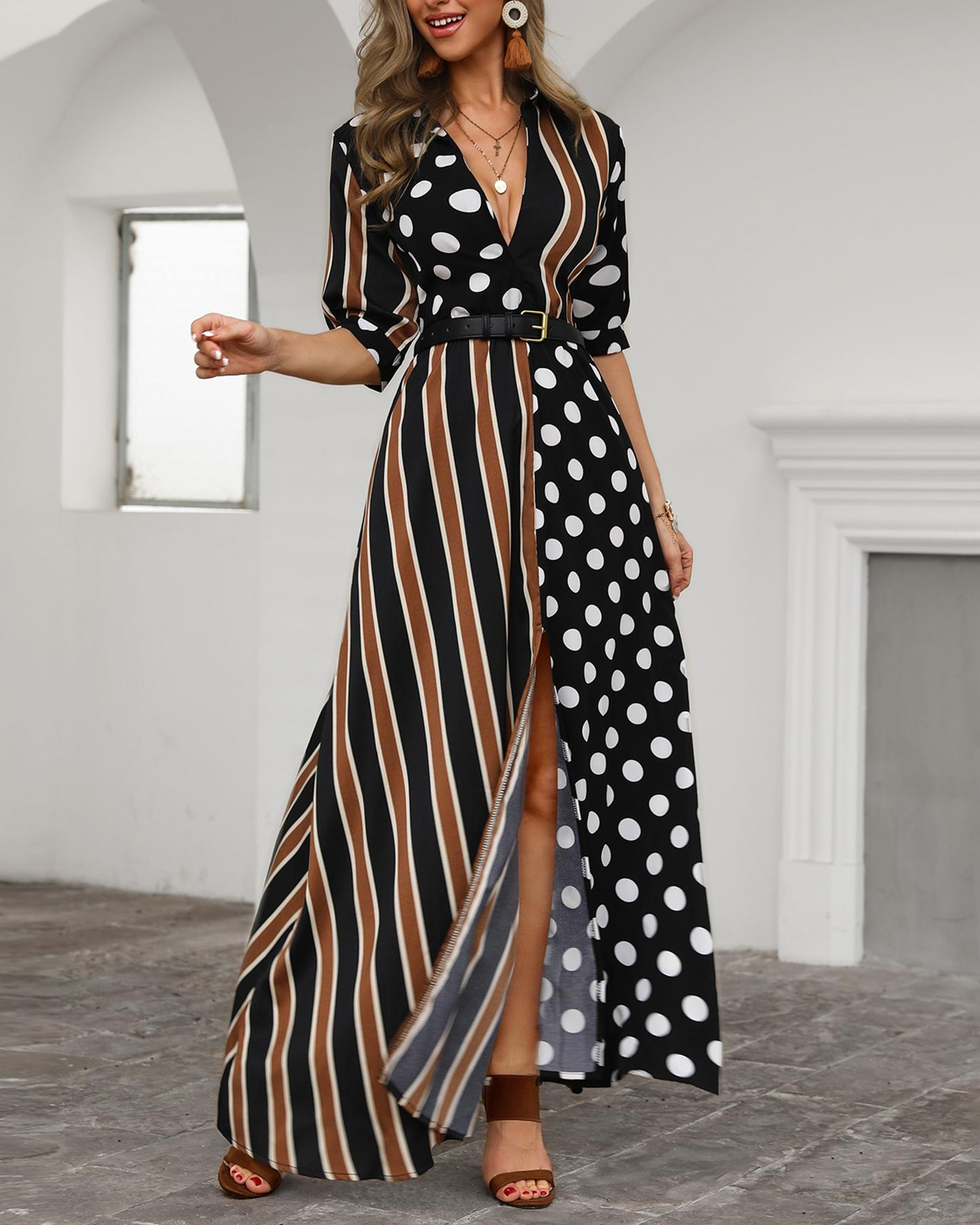 joyshoetique / Dots & Stripes Plunge Slit Maxi Dress