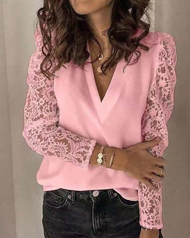 Long Sleeve Lace Patchwork Blouse фото