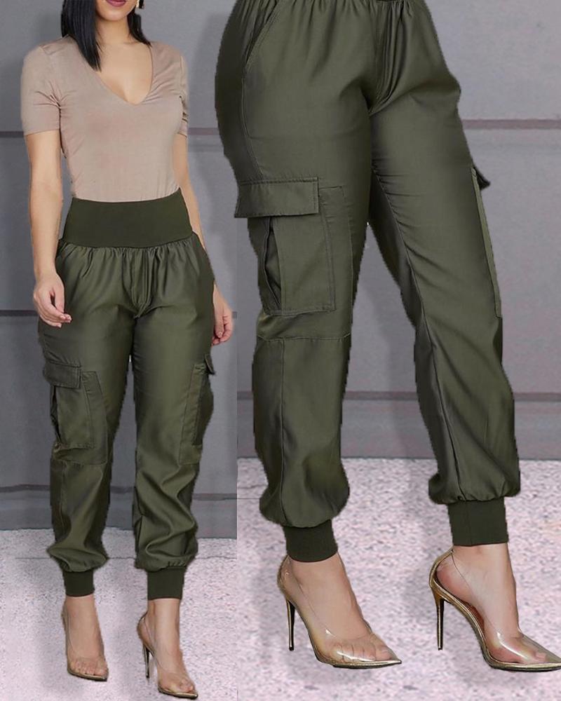 chicme / Pantalones con detalle elástico de cintura alta