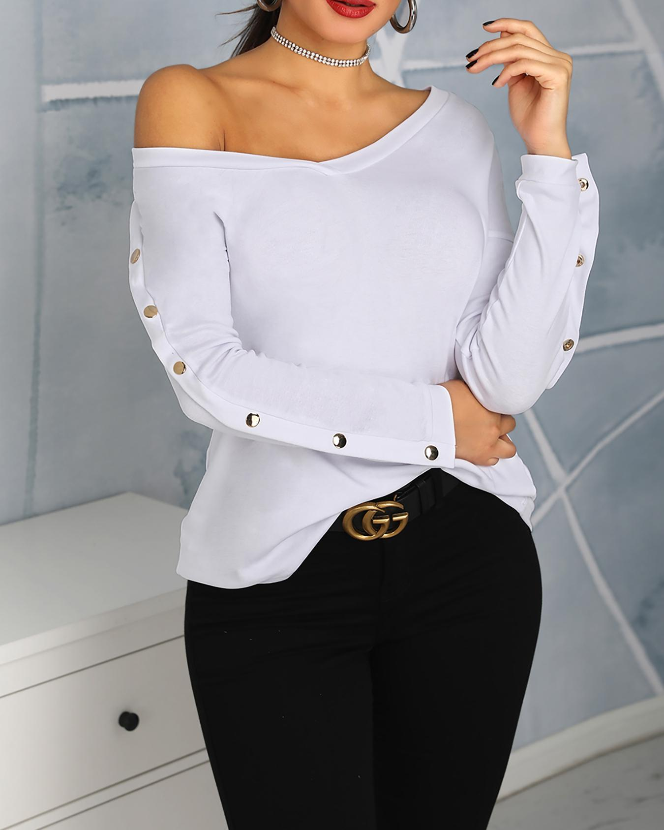 Solid Button Design Long Sleeve T-Shirt фото