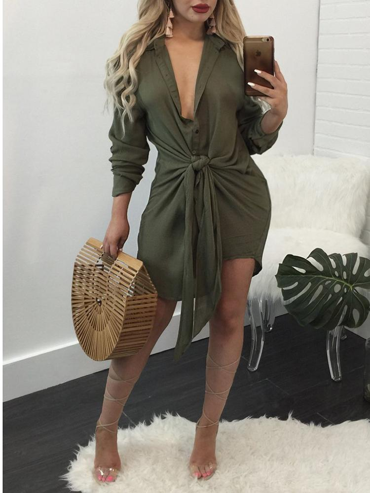 Asymmetric Button Closure Knotted Shirt Dress