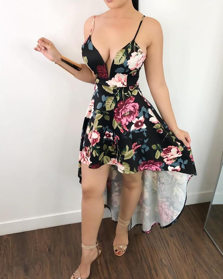Low Cut Floral Print Dip Hem Slip Dress