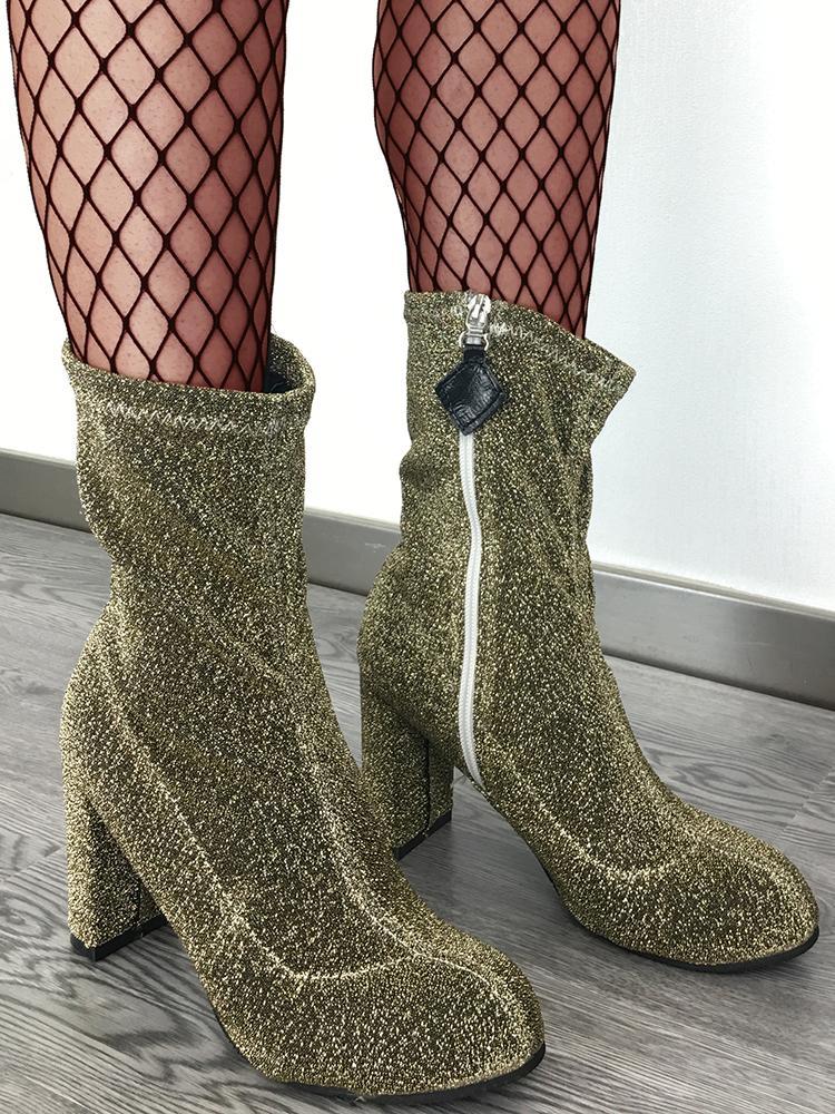 Almond Toe Side Zipper Block Heeled Boots - Gold