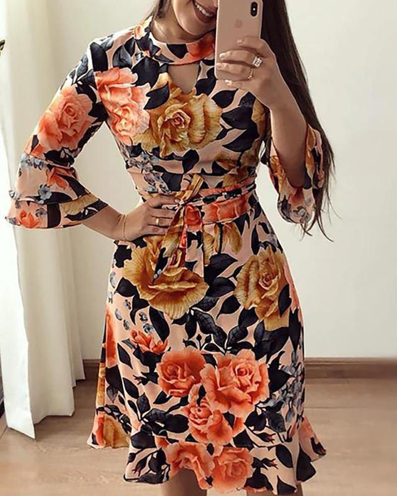 Floral Print Cutout Ruffles Flared Sleeve Casual Dress фото