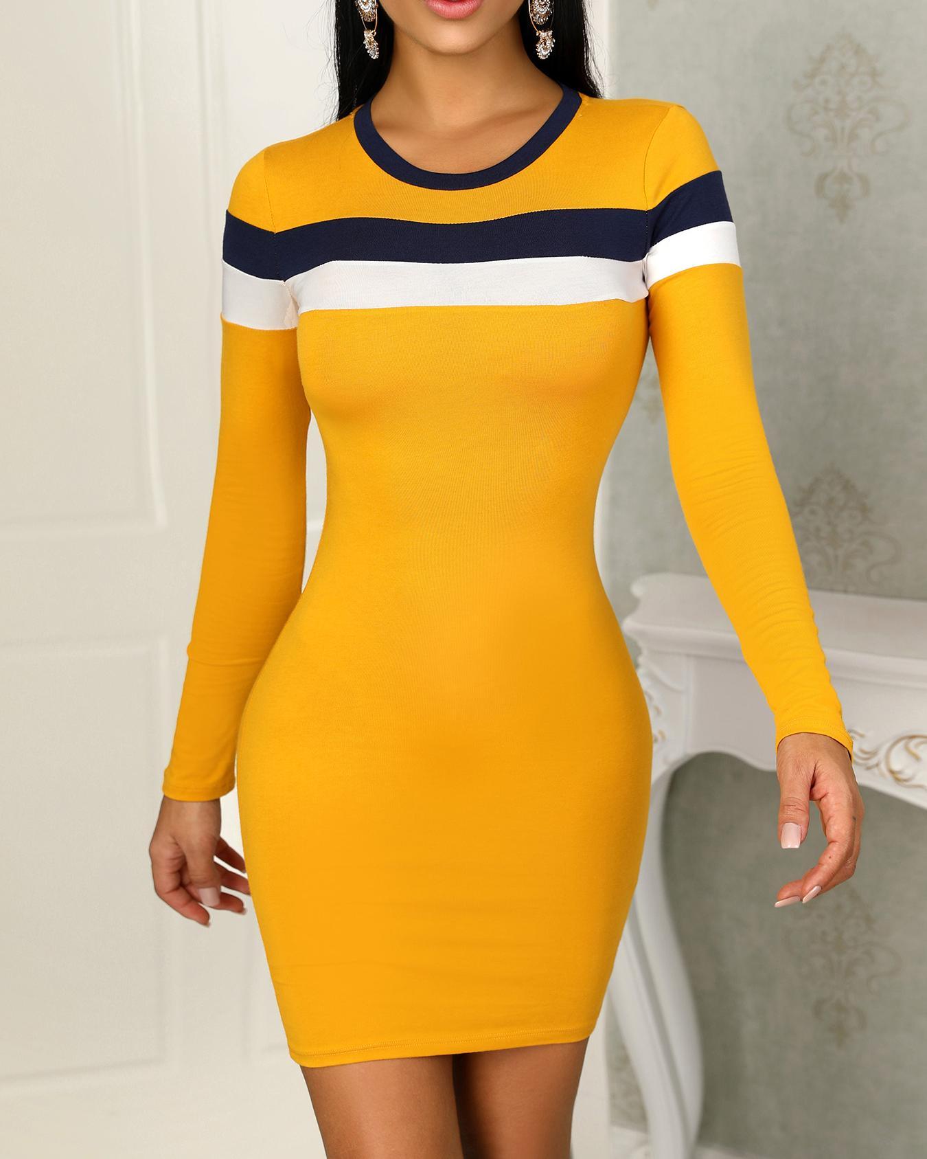 Colorblock Striped Splicing Bodycon Dress
