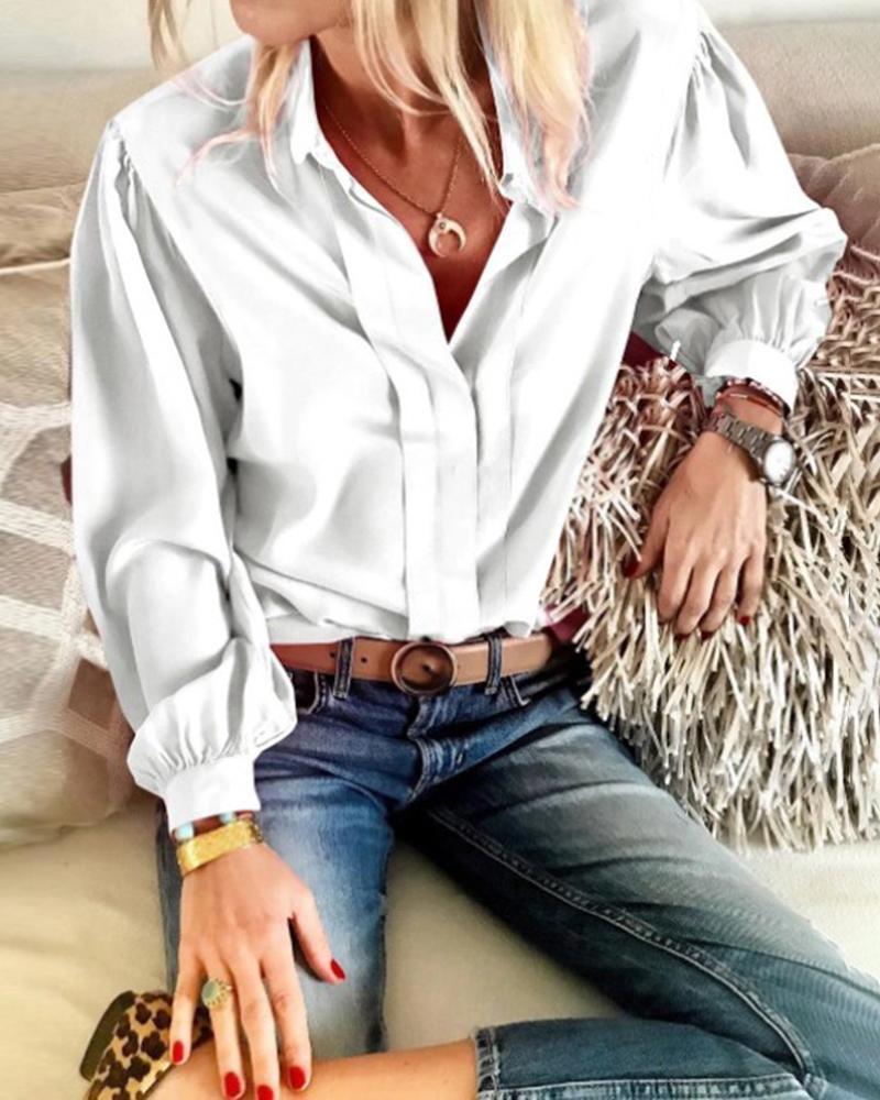 Turn-down Collar Lantern Sleeve Ruched Shirt фото