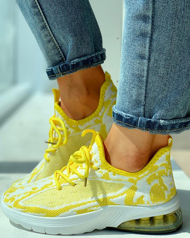 boutiquefeel / Zapatillas casual transpirables de color block de punto
