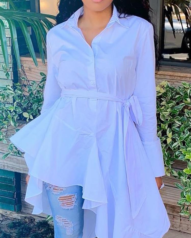 Solid Long Sleeve Irregular Hem Shirt, White