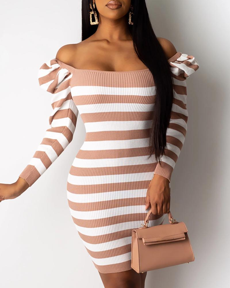 Striped Puffed Sleeve Sweater Dress, Pink
