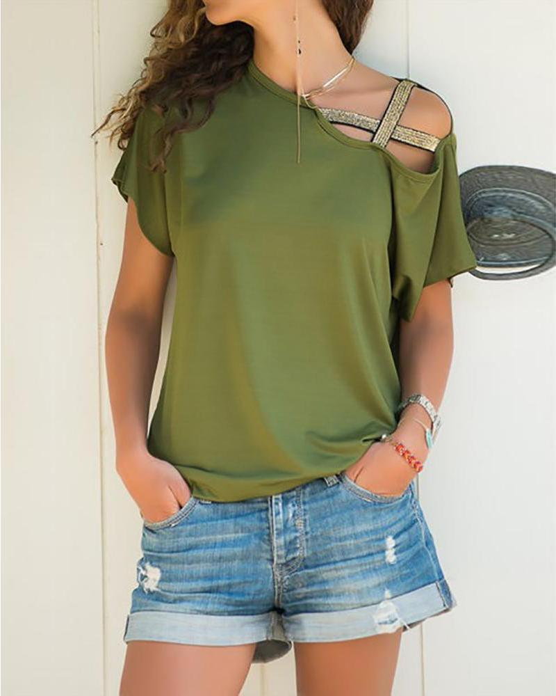 chicme / T-shirt cruzado contínuo do ombro um