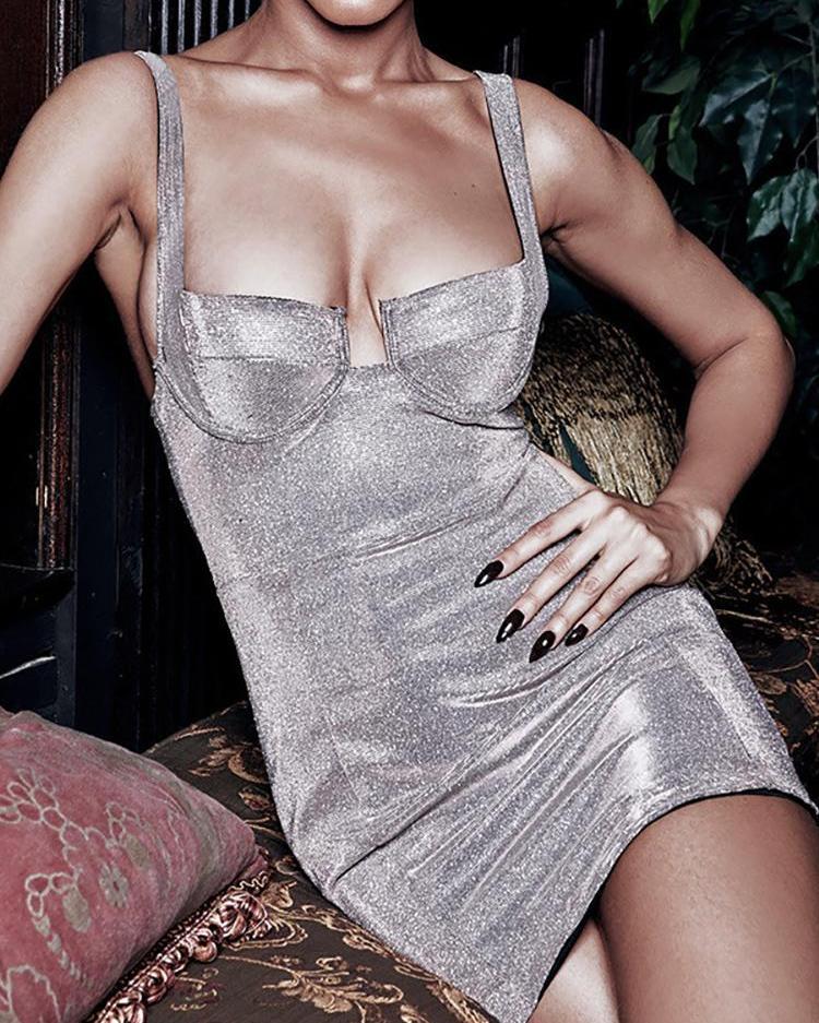 V-Cut Glitter Bodycon Dress фото