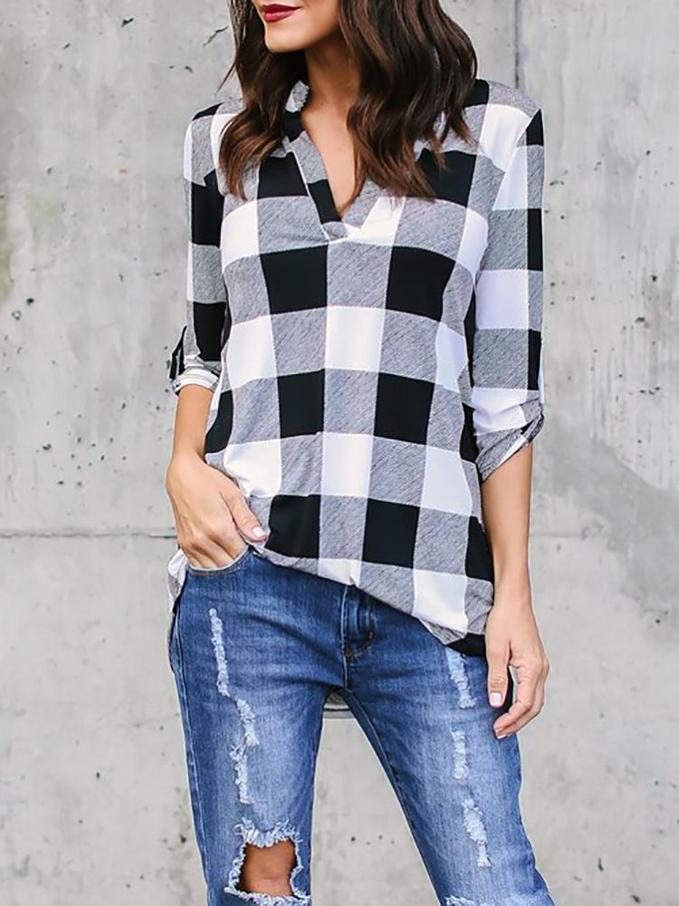 Checkered V Neck Roll Sleeve Casual Blouse фото