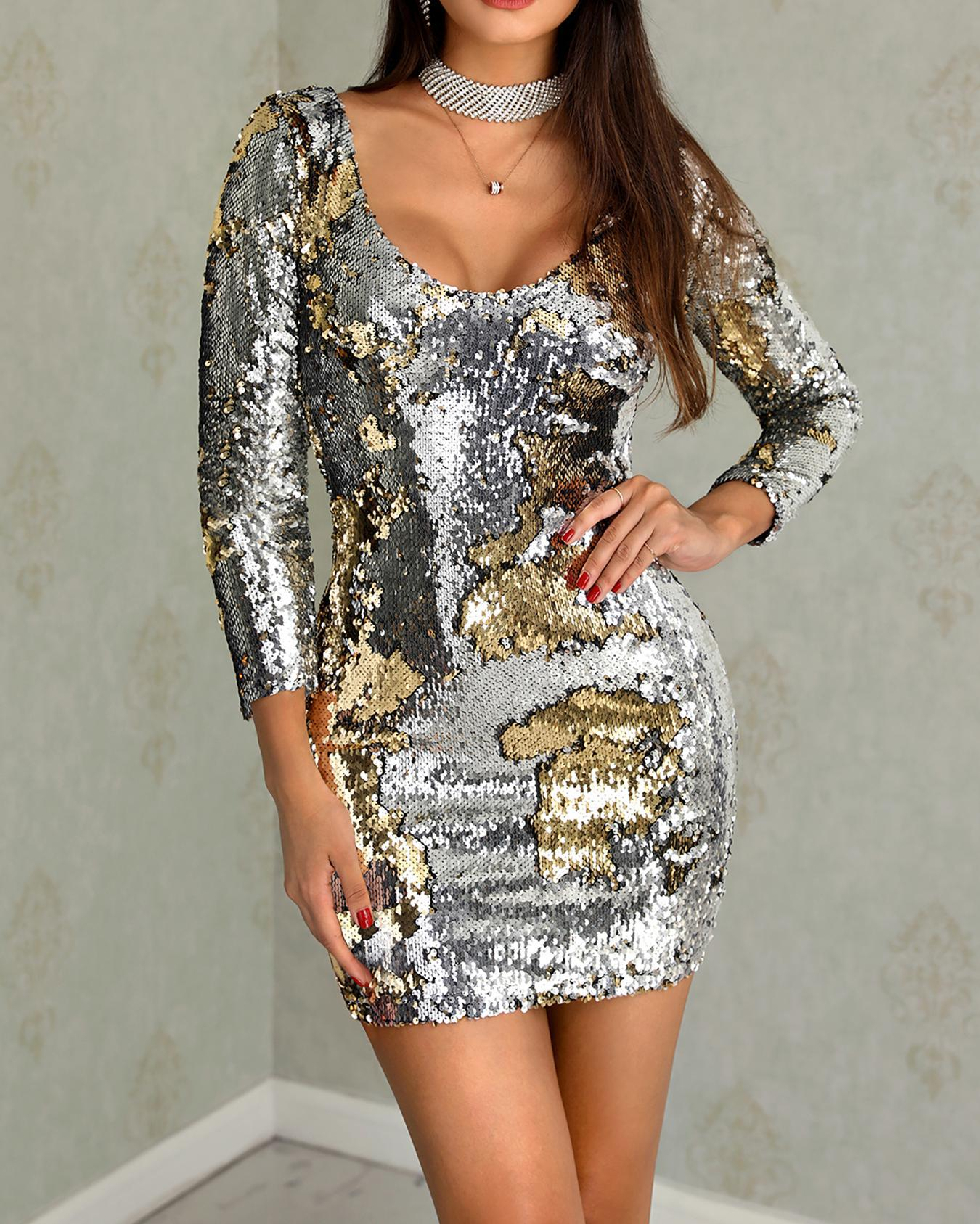 Long Sleeve Backless Sequin Party Dress фото