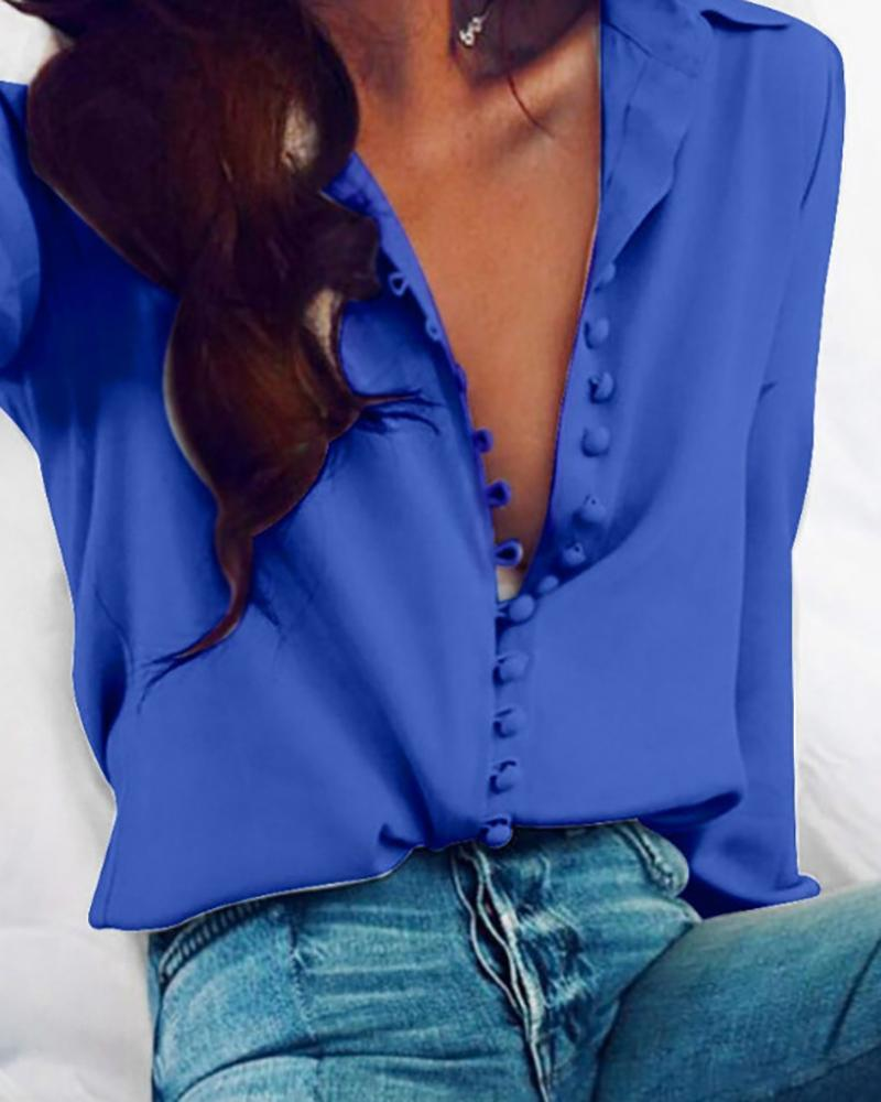Long Sleeve Button Design Casual Blouse фото