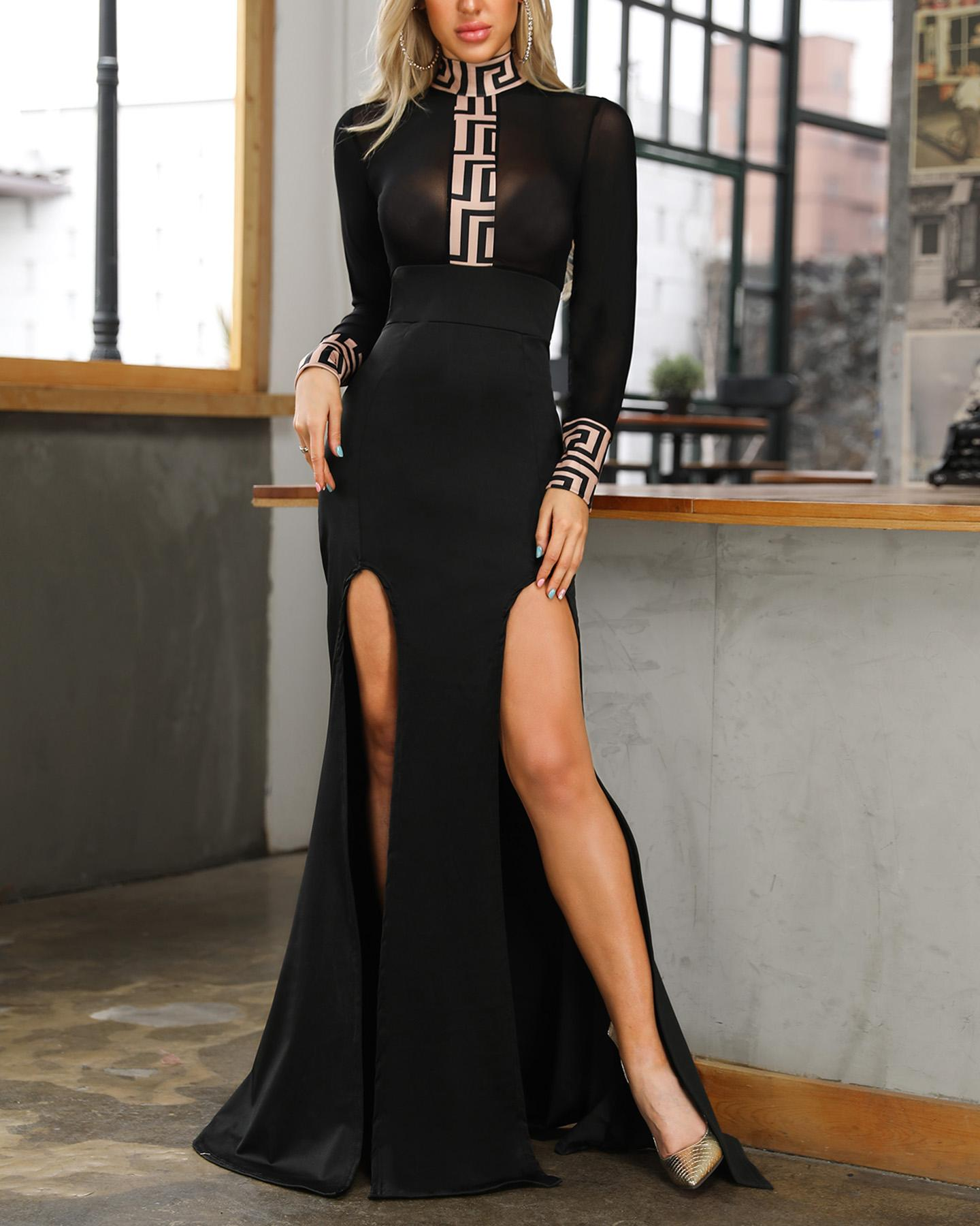 Sheer Mesh Patchwork High Split Long Dress