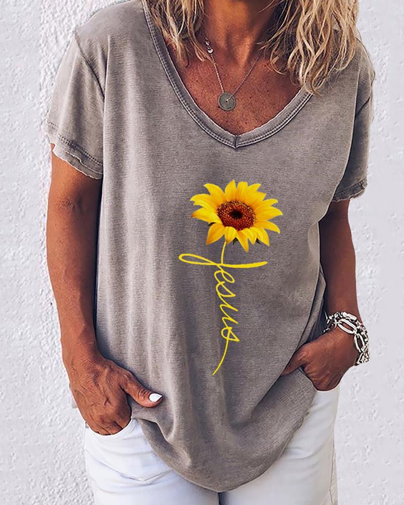 ivrose / Camiseta informal con estampado de letras y estampado de girasol