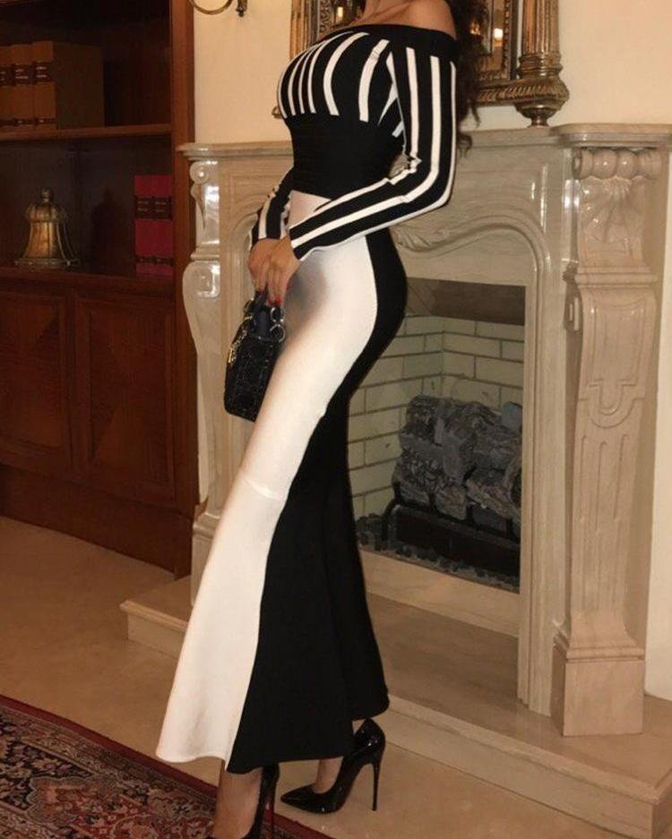 ivrose / Off Shoulder Colorblock Striped Evening Dress
