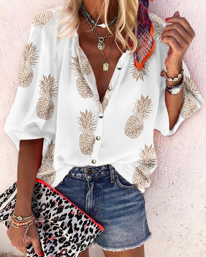 ivrose / Pineapple Print Buttoned Casual Blouse