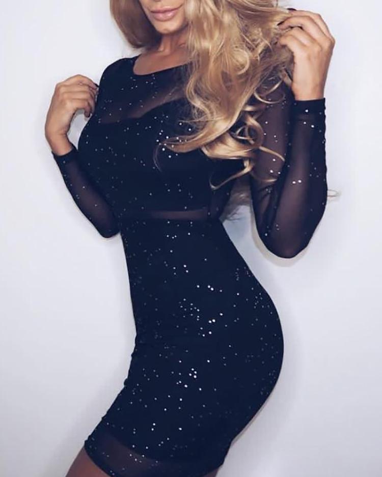 ivrose / Glittering Sheer Mesh Bodycon Dress