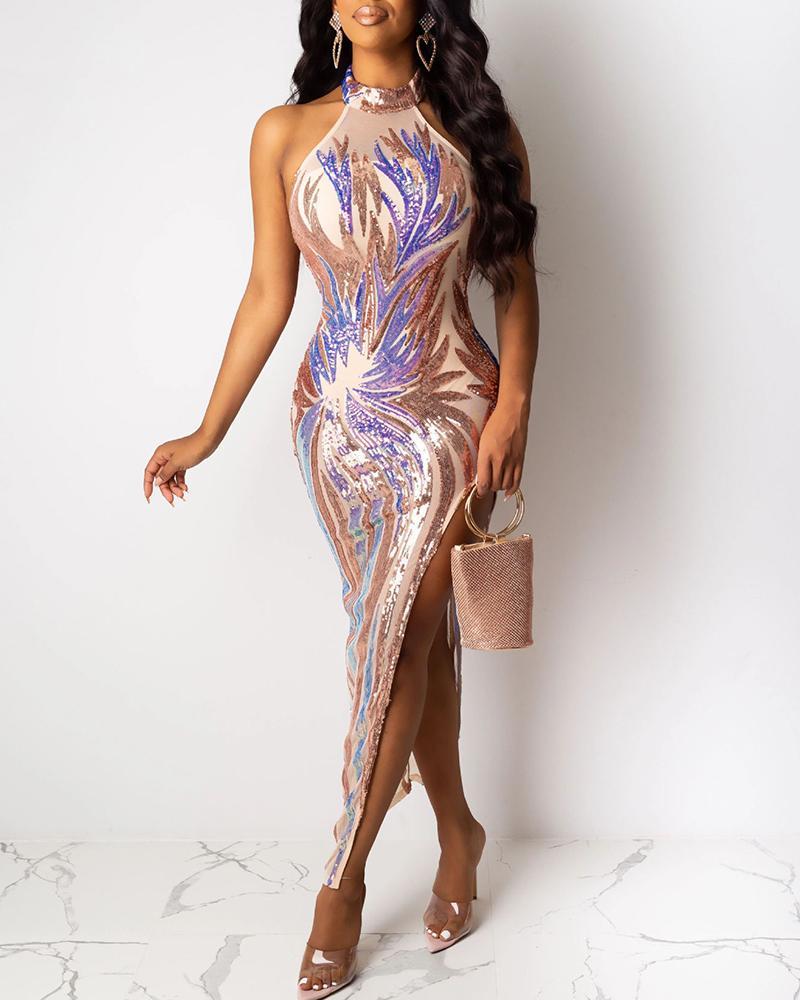 boutiquefeel / Vestido ajustado de lentejuelas de corte alto sin mangas con gargantilla brillante