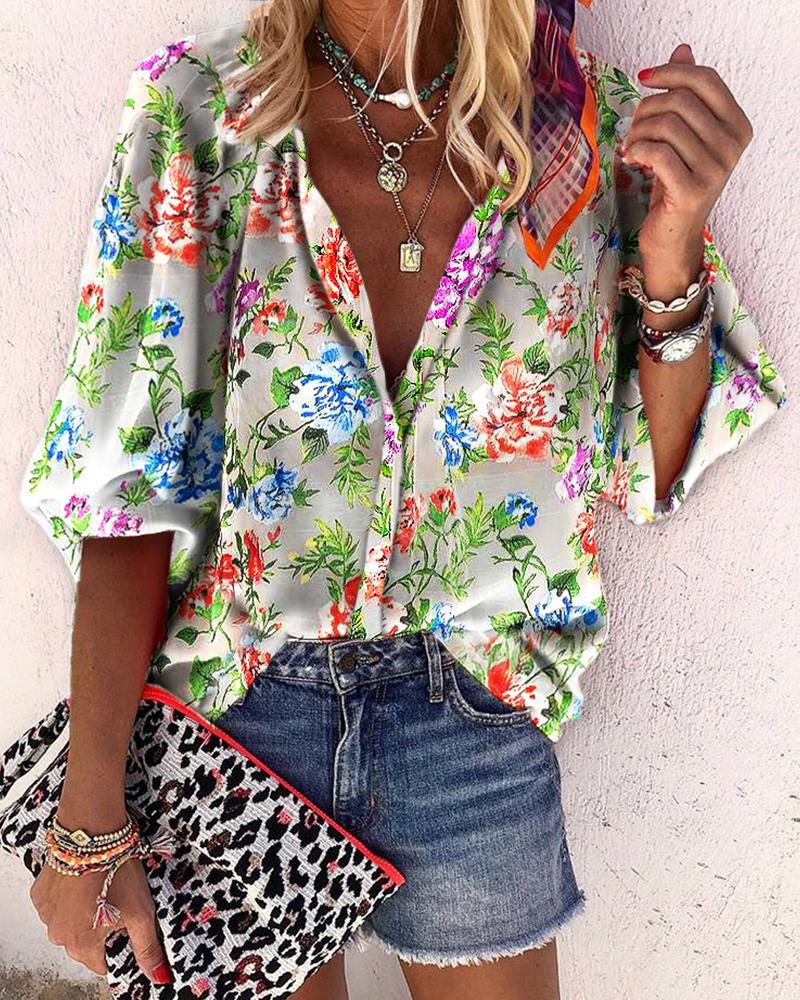 Floral Print Buttoned Lantern Sleeve Shirt фото