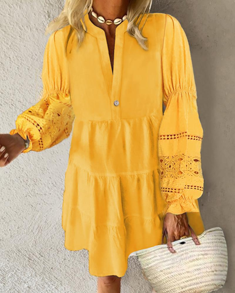 Crochet Lace Lantern Sleeve Ruched Casual Dress фото