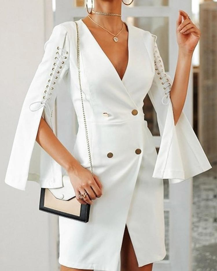 Solid Lace-Up Slit Sleeve Blazer Bodycon Dress