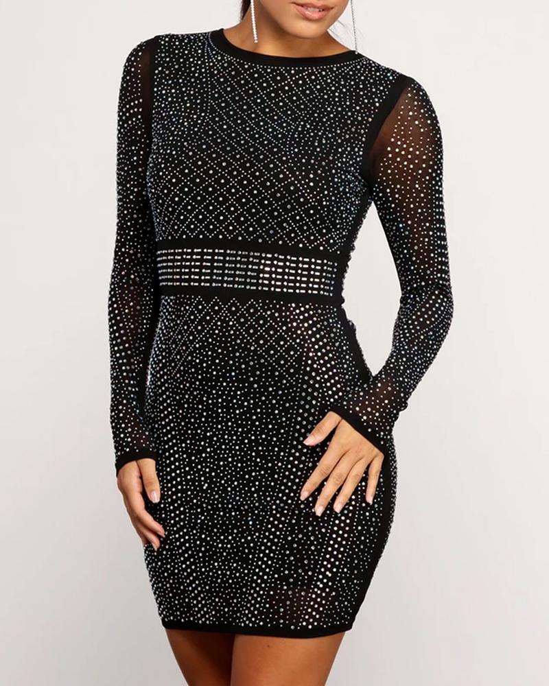 Hot Stamping Sheer Mesh Bodycon Dress фото
