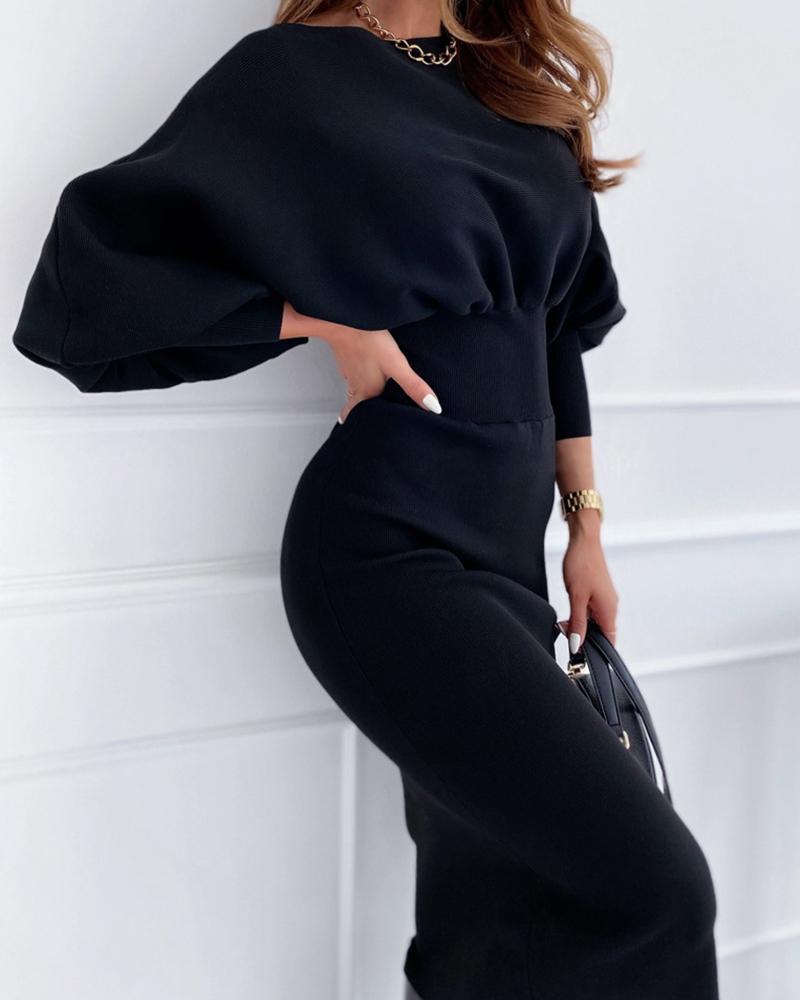ivrose / Plain Lantern Sleeve Knit Casual Sweater Dress