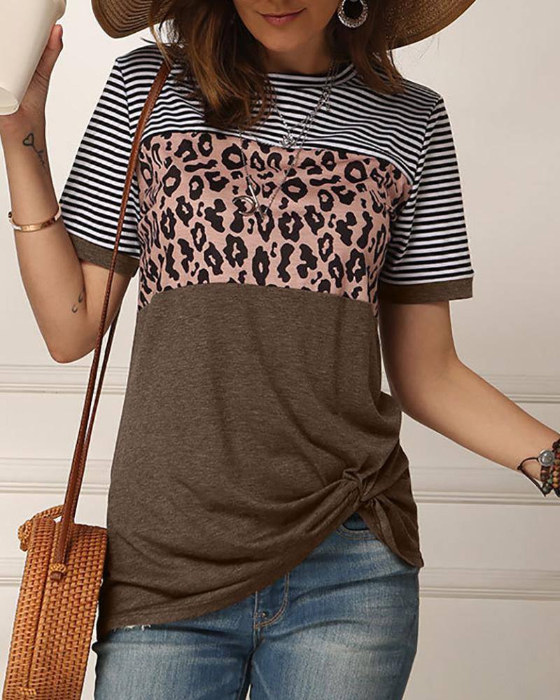 Leopard Print Striped Twisted Short Sleeve T-shirt фото