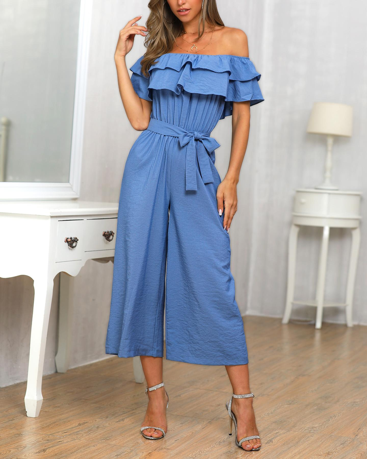 chicme / Off Shoulder Ruffles Wide Leg Jumpsuit