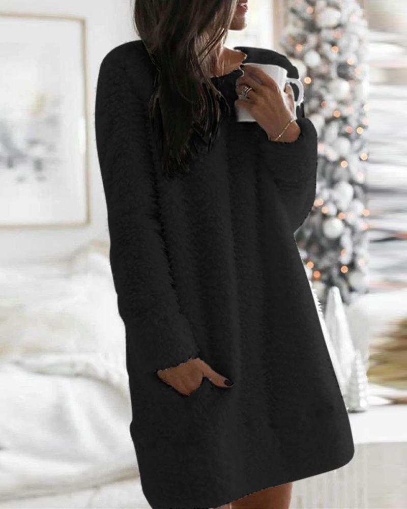 Pocket Design Solid Fluffy Dress фото