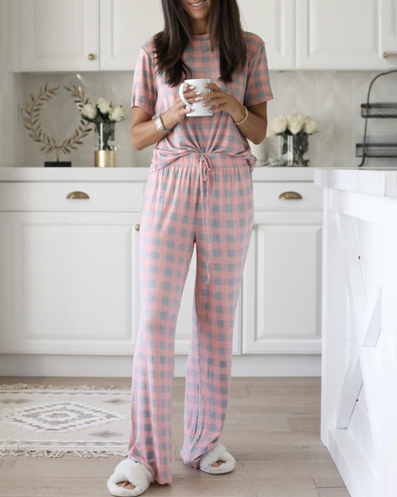 Star Print Drawstring Short Sleeve Pajamas Set фото