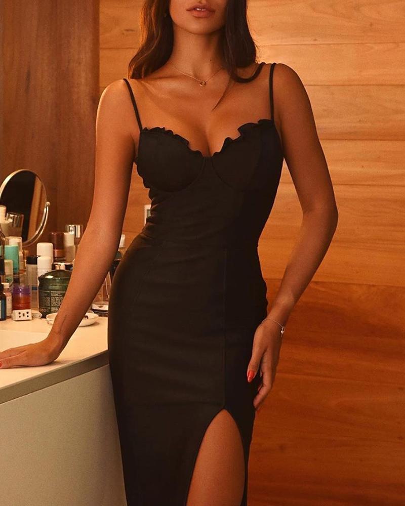 Sweetheart Neck Midi Split Dress фото