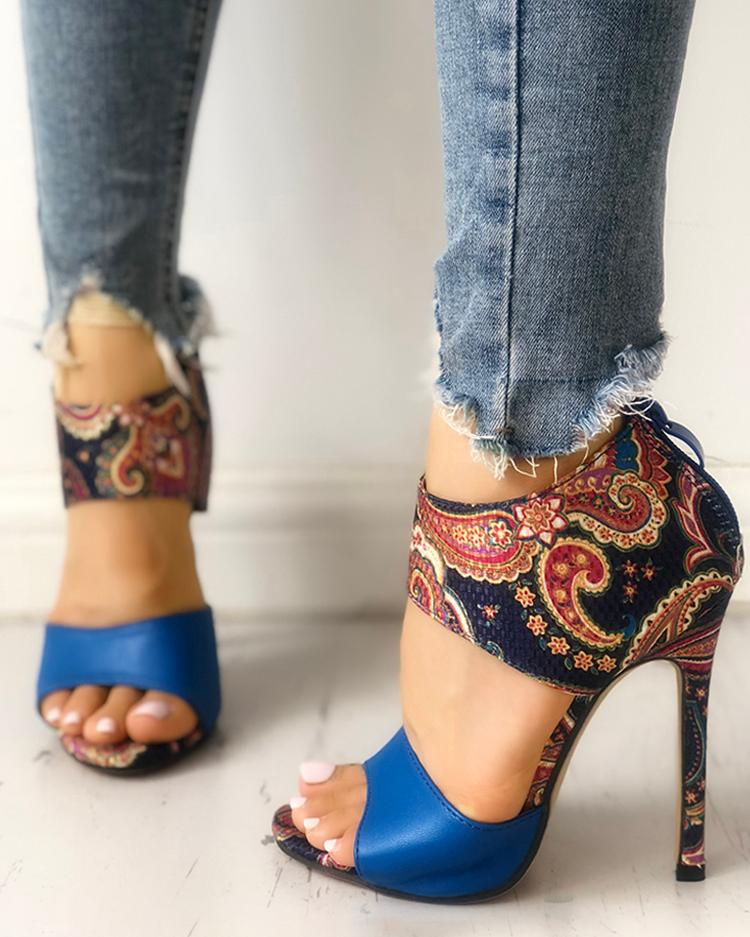 Ethnic Style Open Toe Thin Heeled Sandals фото
