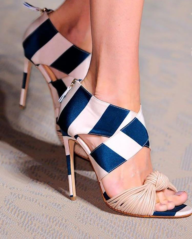 Striped Crisscross Knotted Thin Heeled Sandals фото