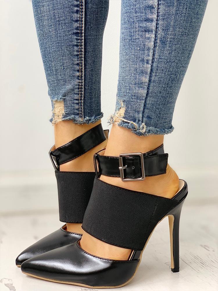 Pointed Toe Insert Slingback Thin Heels