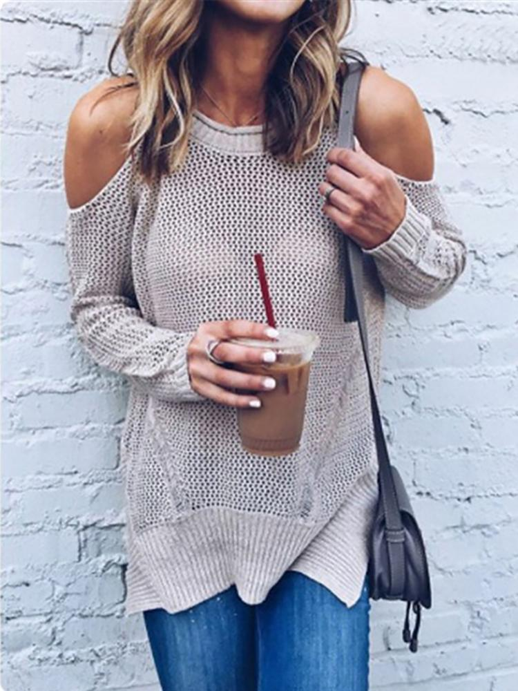 Stylish Cold Shoulder Loose Knitted Sweater фото