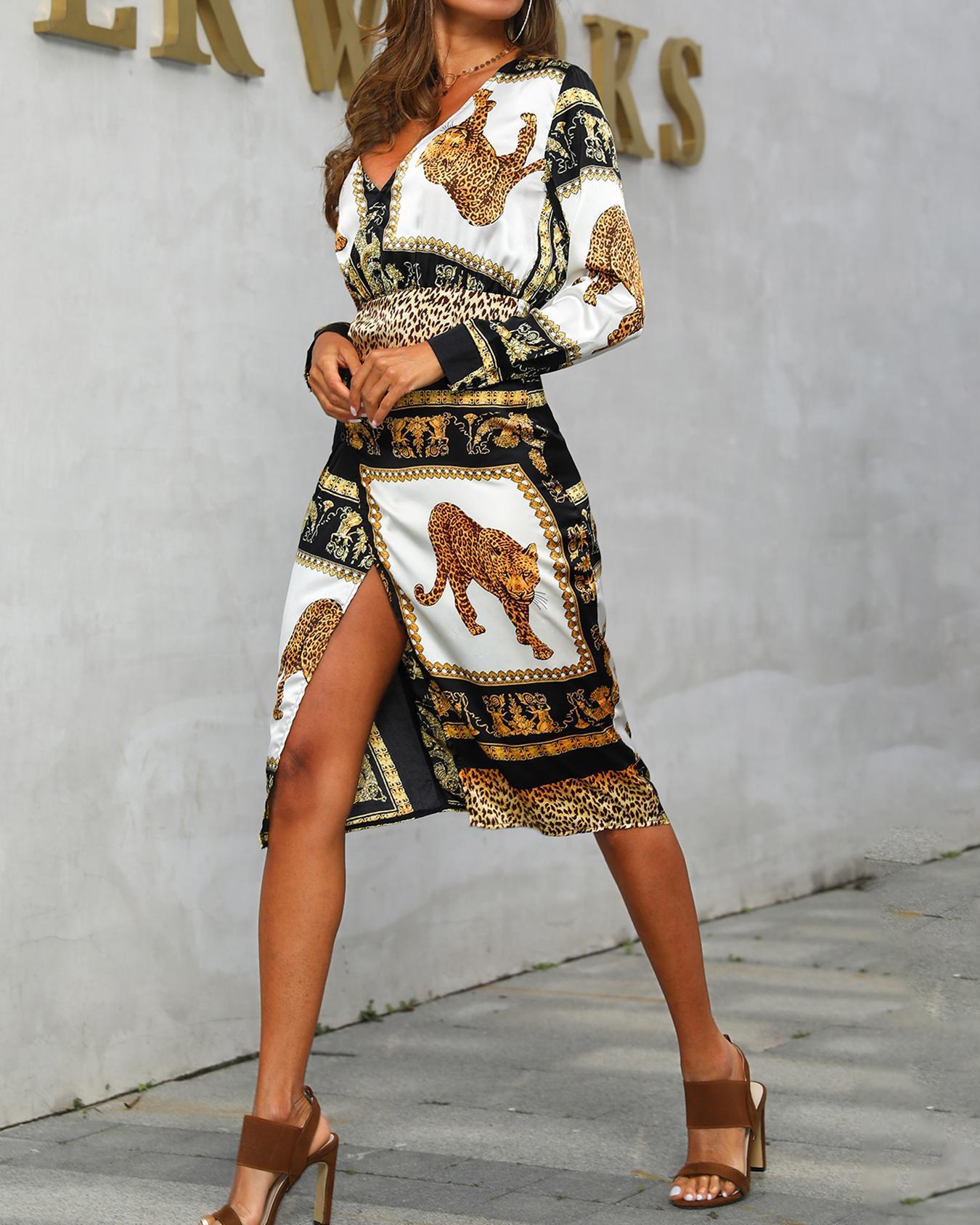 Tiger Print Insert Surplice Slit Dress фото
