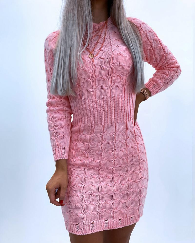 ivrose / Solid Color Long Sleeve Skinny Waist Sweater Mini Dress