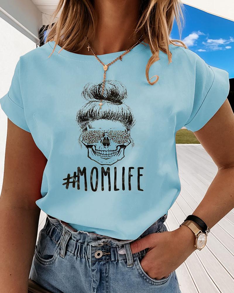 Figure/Letter Print Cuff Sleeve T-Shirt фото
