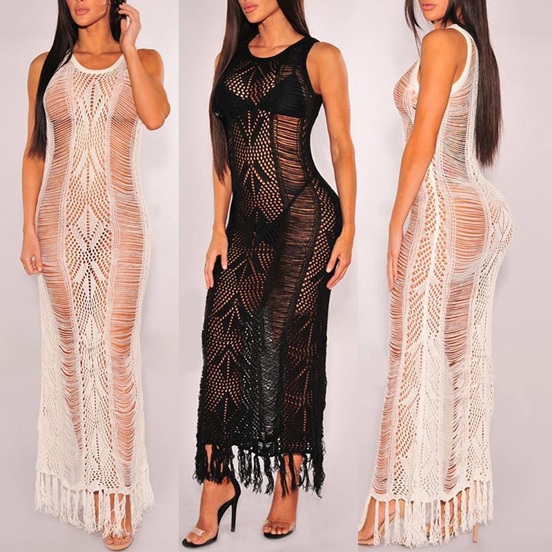 Sexy Fishnet Ladder Tassel Dress Beachwear Cover Ups