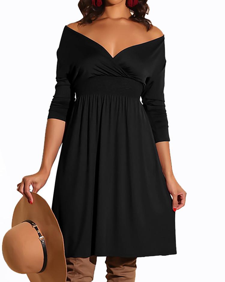 Off Shoulder Shirred Waist Pleated Dress