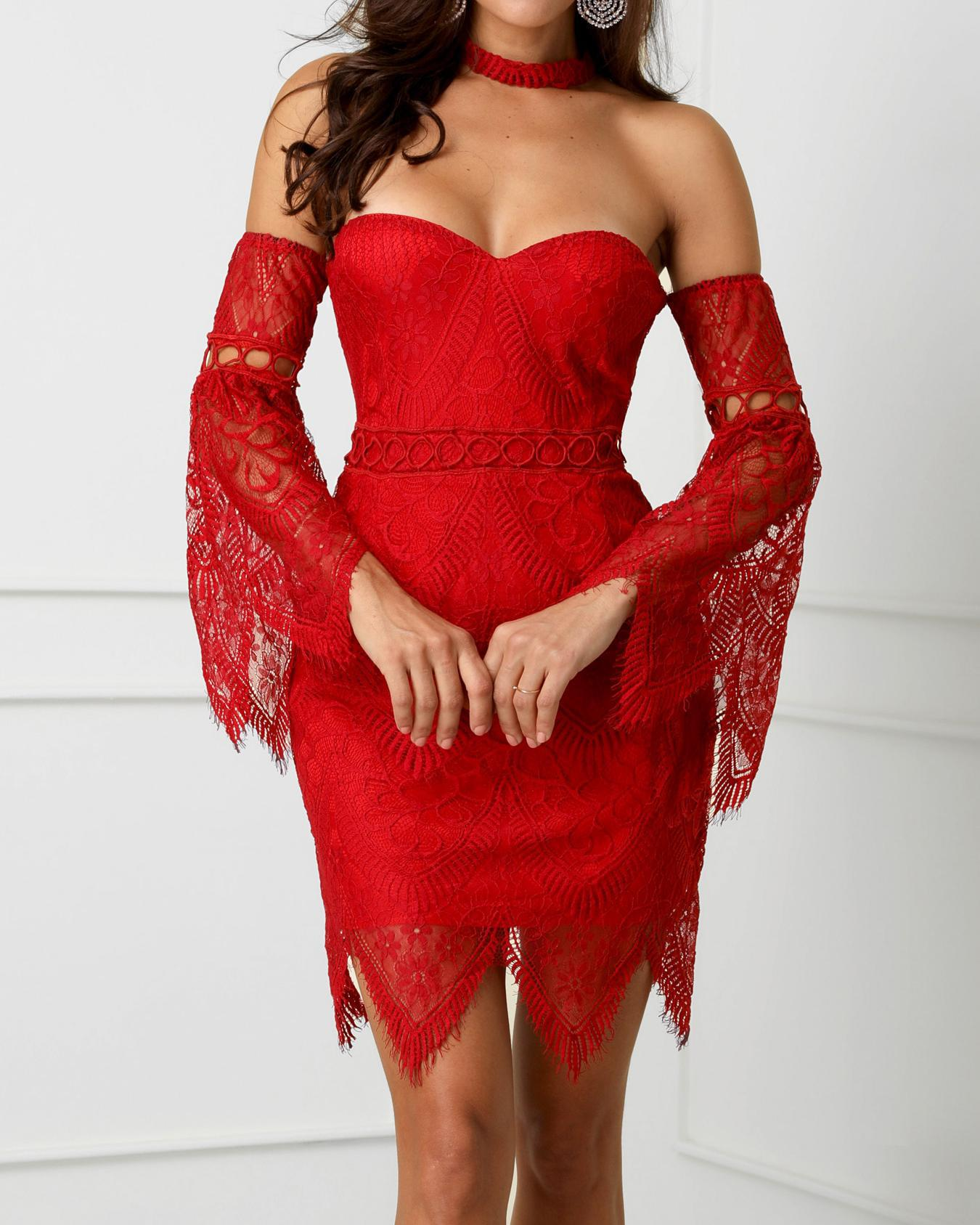 Off Shoulder Bell Sleeve Eyelash Lace Dress
