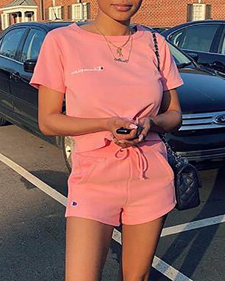Fashion Short Sleeve Solid Drawstring Tracksuits