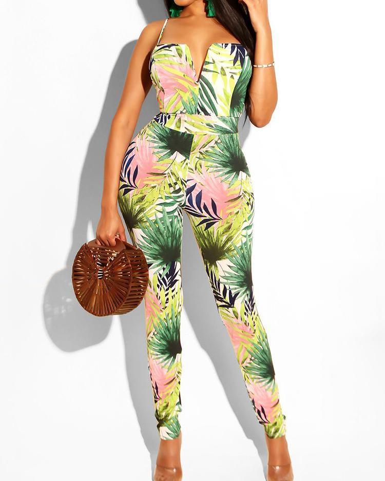 Leaf Print V-Cut Jumpsuit фото