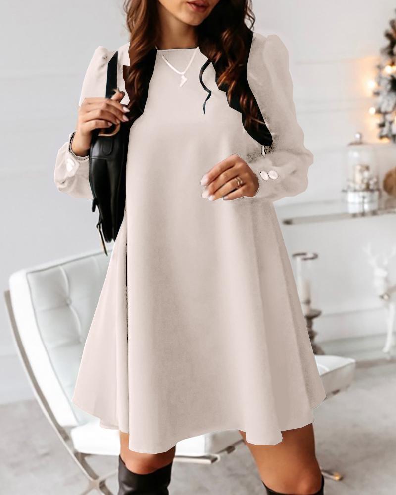 Solid Button Design Casual Mini Dress фото