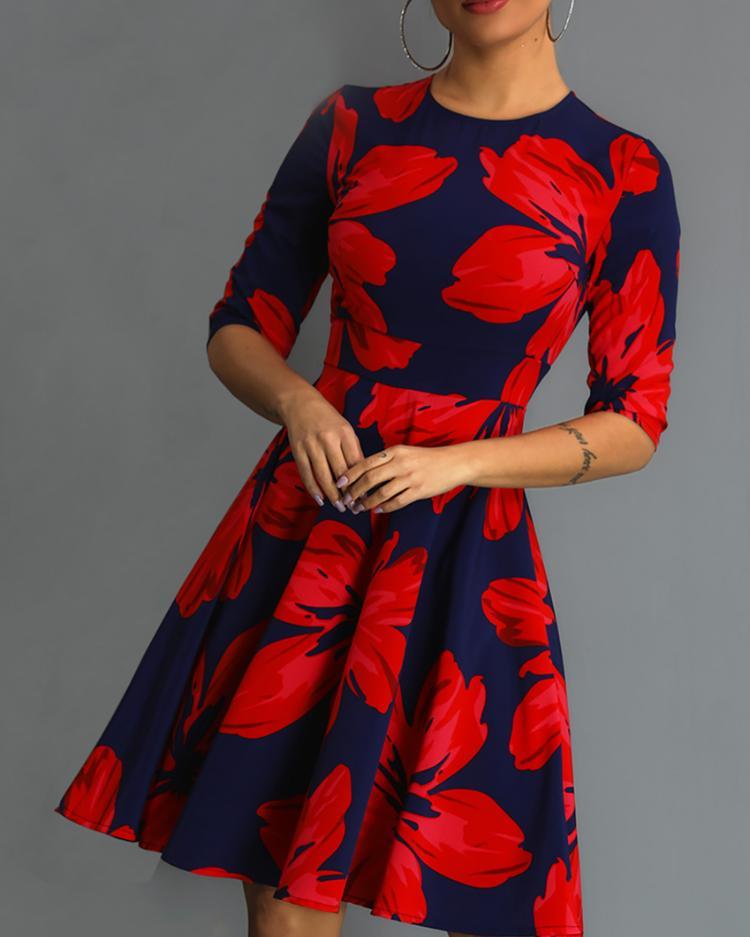 Floral Print Ruched Design Midi Dress
